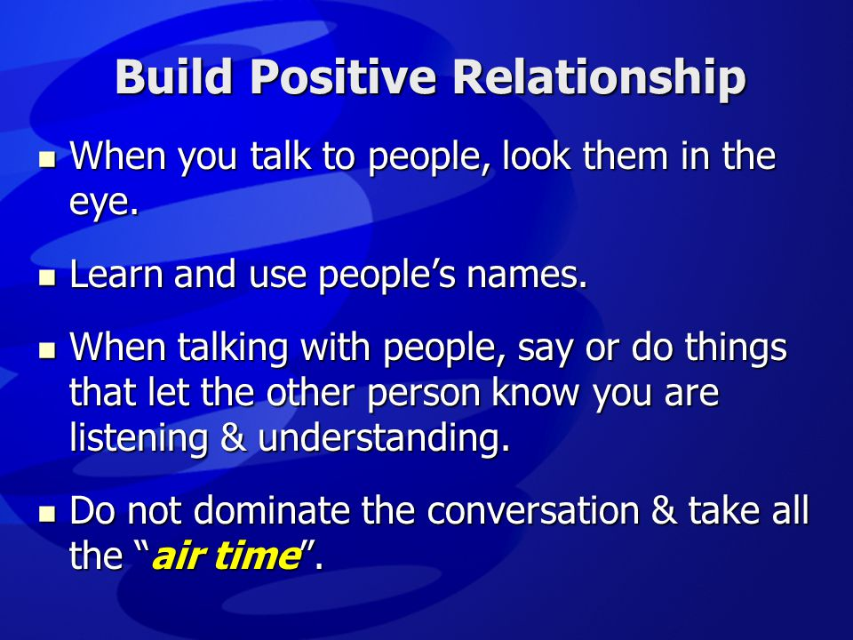 Build Positive Relationship