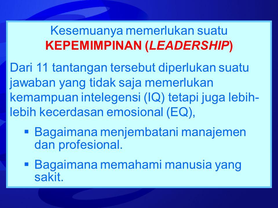 Kesemuanya memerlukan suatu KEPEMIMPINAN (LEADERSHIP)