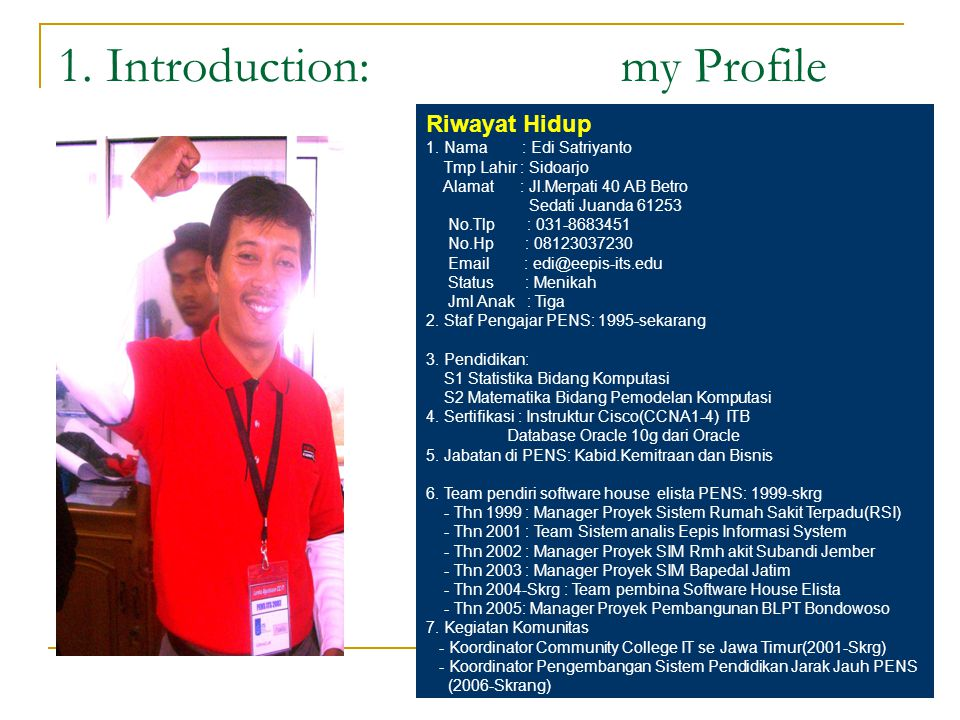 1. Introduction: my Profile