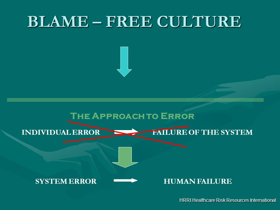 BLAME – FREE CULTURE The Approach to Error