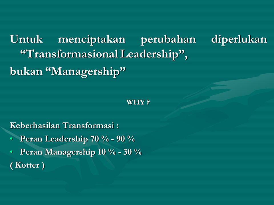 Untuk menciptakan perubahan diperlukan Transformasional Leadership ,