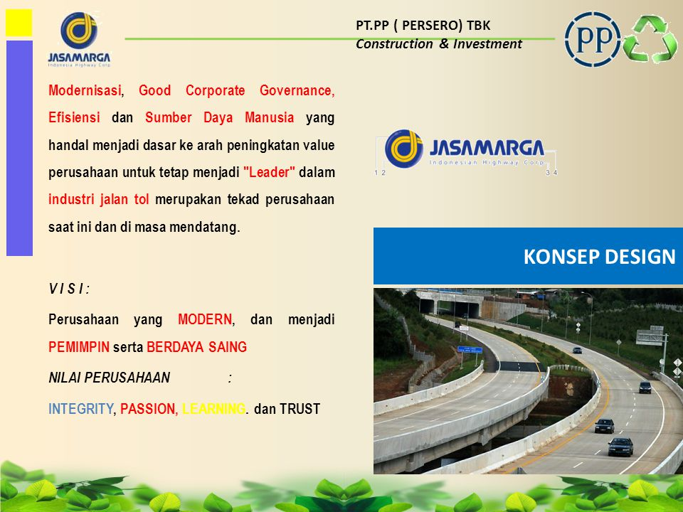 KONSEP DESIGN PT.PP ( PERSERO) TBK Construction & Investment