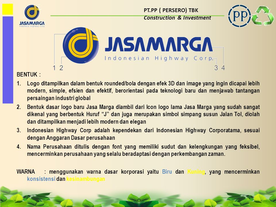PT.PP ( PERSERO) TBK Construction & Investment. BENTUK :