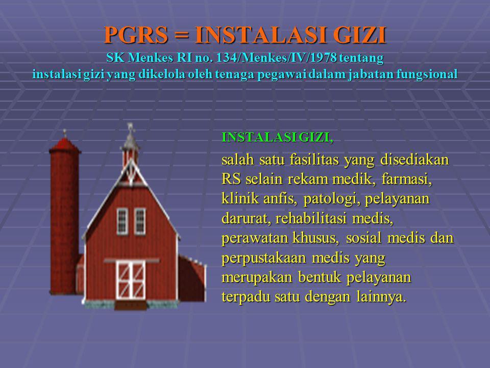 PGRS = INSTALASI GIZI SK Menkes RI no