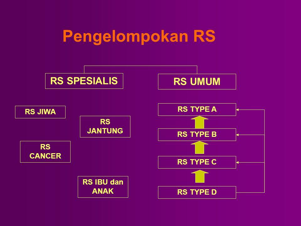 Pengelompokan RS RS SPESIALIS RS UMUM RS TYPE A RS JIWA RS JANTUNG