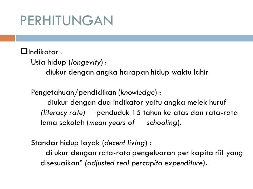 PERHITUNGAN Indikator : Usia hidup (longevity) :