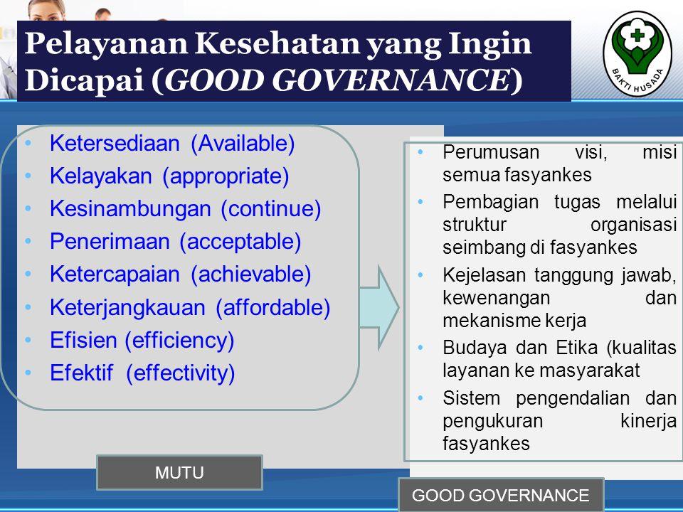Pelayanan Kesehatan yang Ingin Dicapai (GOOD GOVERNANCE)