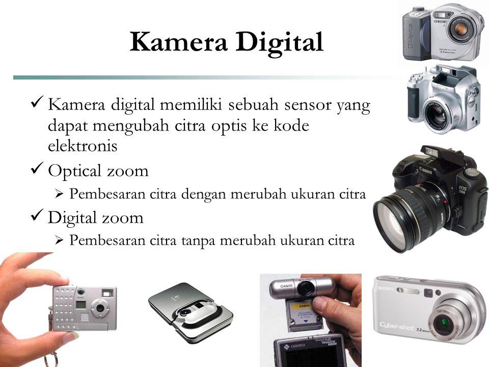 Kamera Digital Kamera digital memiliki sebuah sensor yang dapat mengubah citra optis ke kode elektronis.