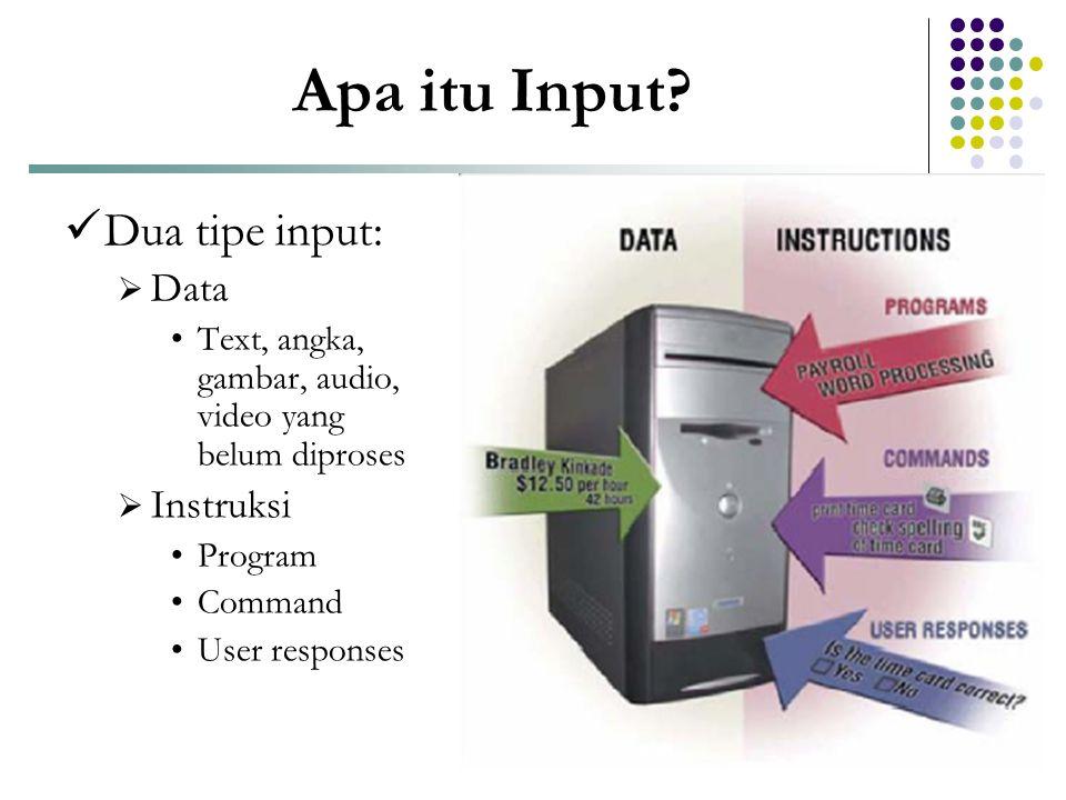 Apa itu Input Dua tipe input: Data Instruksi