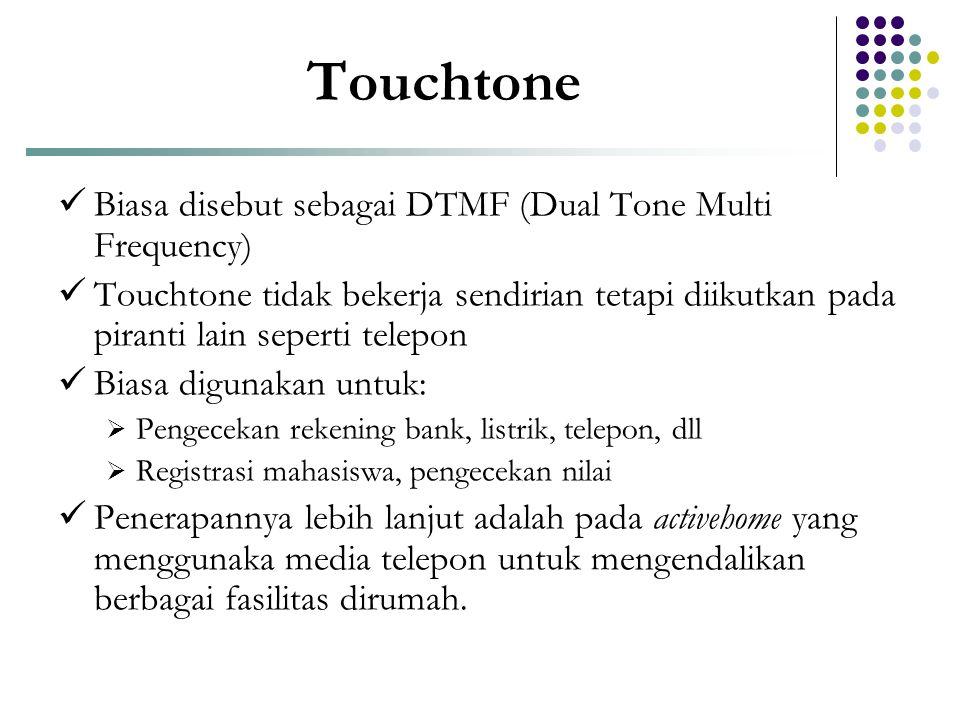 Touchtone Biasa disebut sebagai DTMF (Dual Tone Multi Frequency)