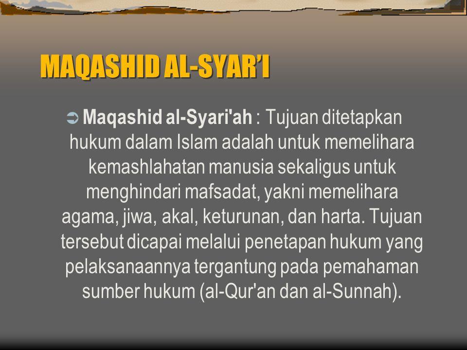 MAQASHID AL-SYAR'I