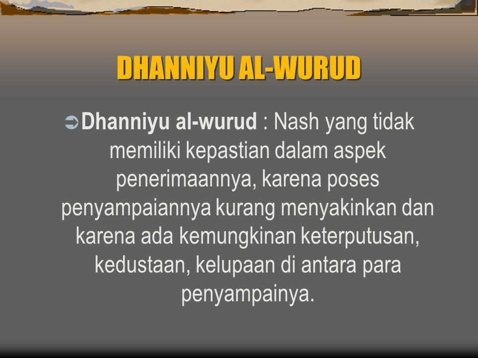 DHANNIYU AL-WURUD