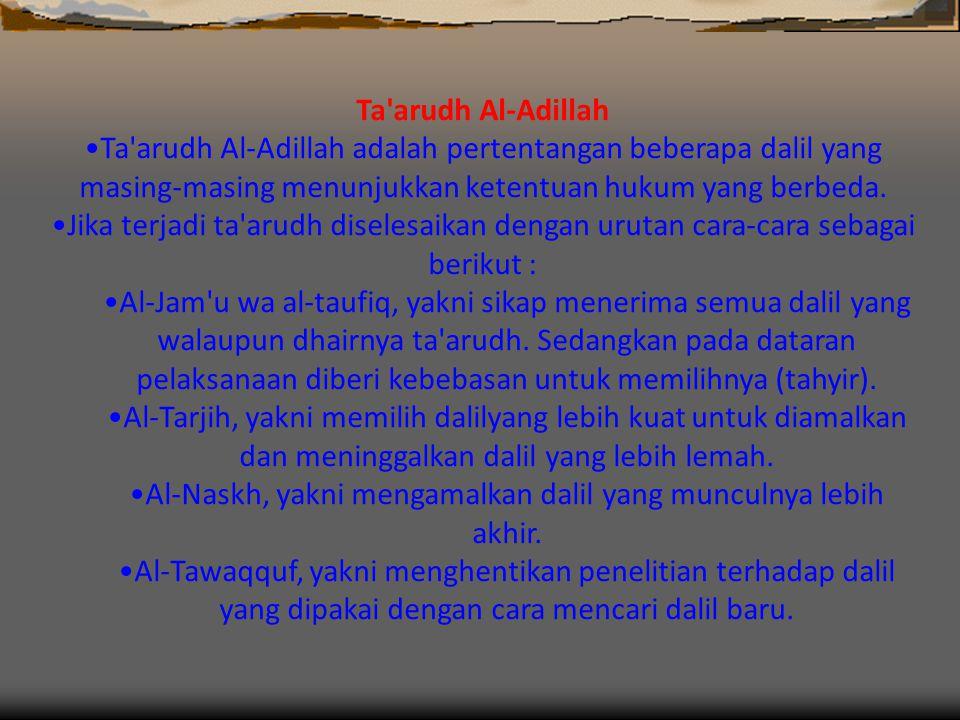 Al-Naskh, yakni mengamalkan dalil yang munculnya lebih akhir.