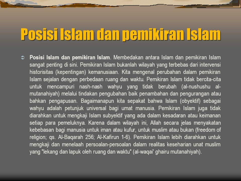 Posisi Islam dan pemikiran Islam