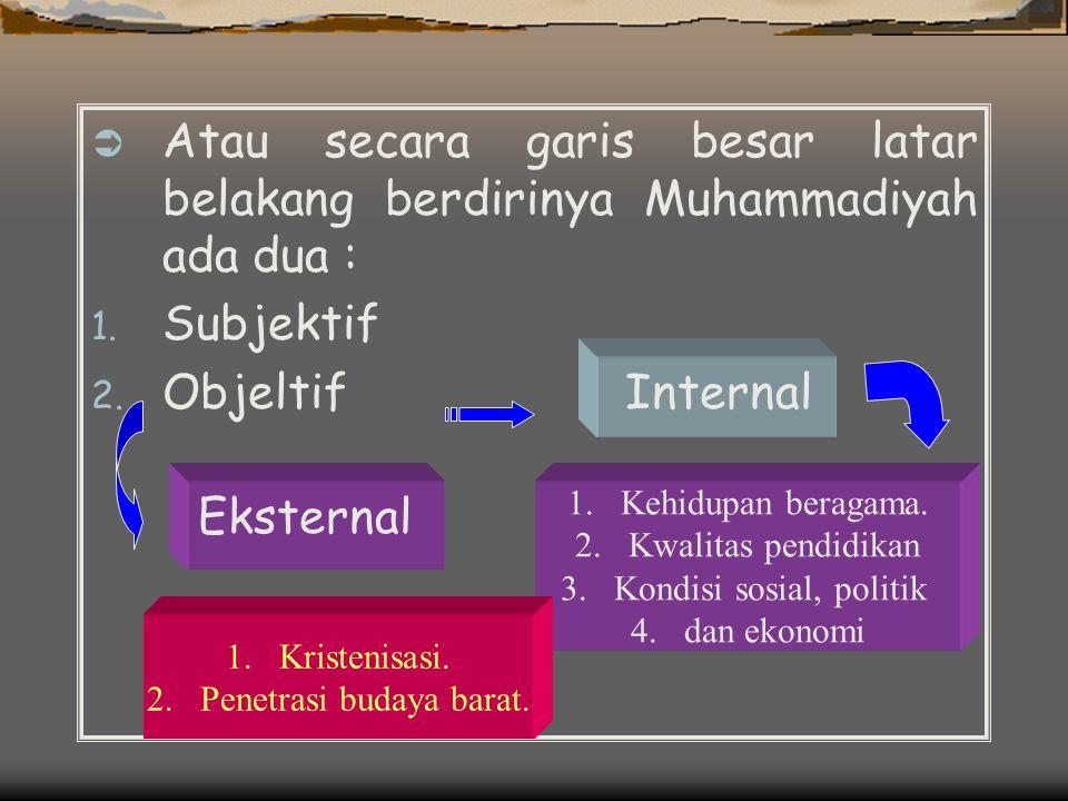 Atau secara garis besar latar belakang berdirinya Muhammadiyah ada dua :