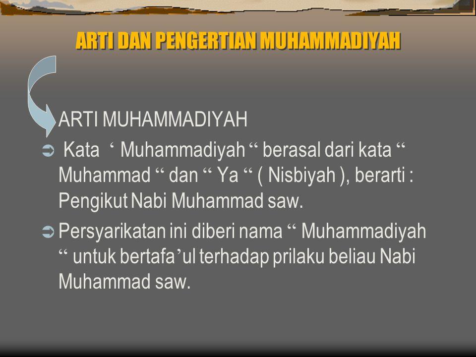 ARTI DAN PENGERTIAN MUHAMMADIYAH