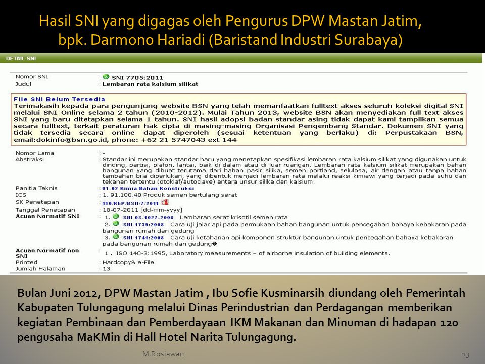 Hasil SNI yang digagas oleh Pengurus DPW Mastan Jatim, bpk