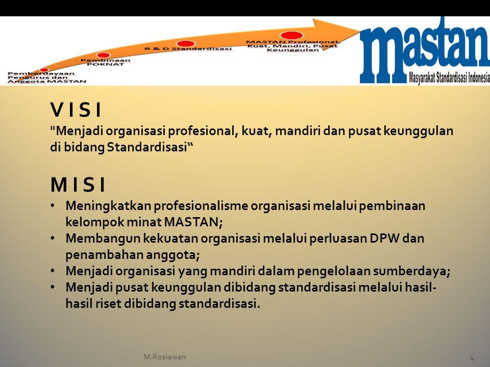 V I S I Menjadi organisasi profesional, kuat, mandiri dan pusat keunggulan di bidang Standardisasi