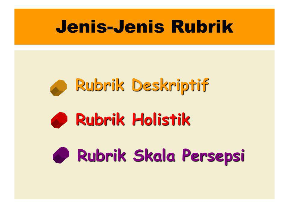 Jenis-Jenis Rubrik Rubrik Deskriptif Rubrik Holistik