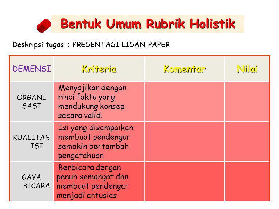 Bentuk Umum Rubrik Holistik