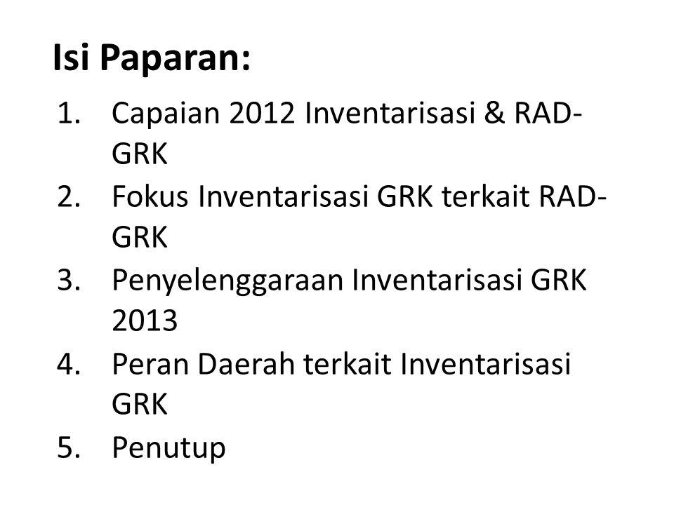 Isi Paparan: Capaian 2012 Inventarisasi & RAD- GRK