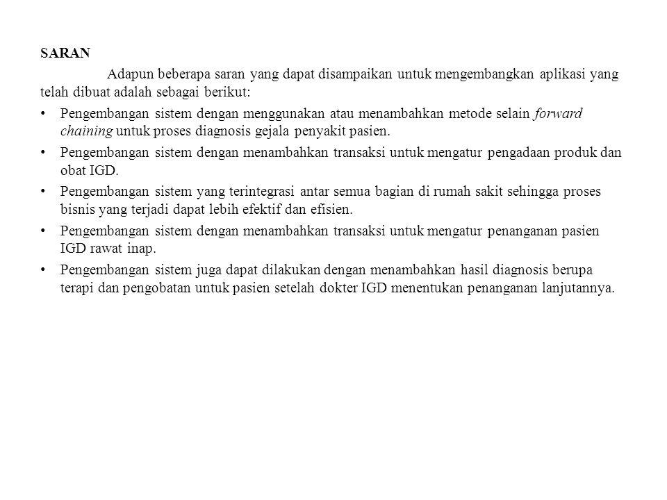 SARAN Adapun beberapa saran yang dapat disampaikan untuk mengembangkan aplikasi yang telah dibuat adalah sebagai berikut: