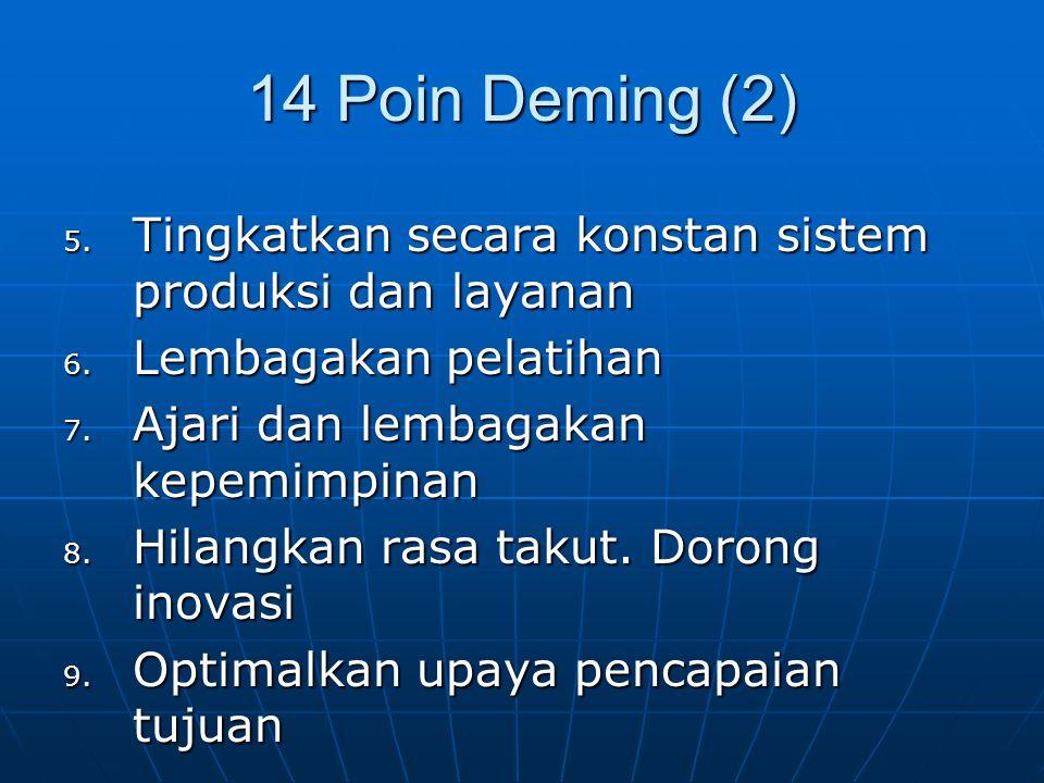 14 Poin Deming (2) Tingkatkan secara konstan sistem produksi dan layanan. Lembagakan pelatihan. Ajari dan lembagakan kepemimpinan.
