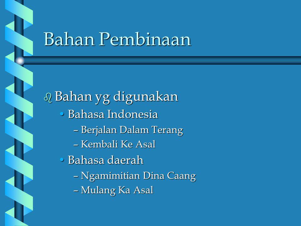 Bahan Pembinaan Bahan yg digunakan Bahasa Indonesia Bahasa daerah