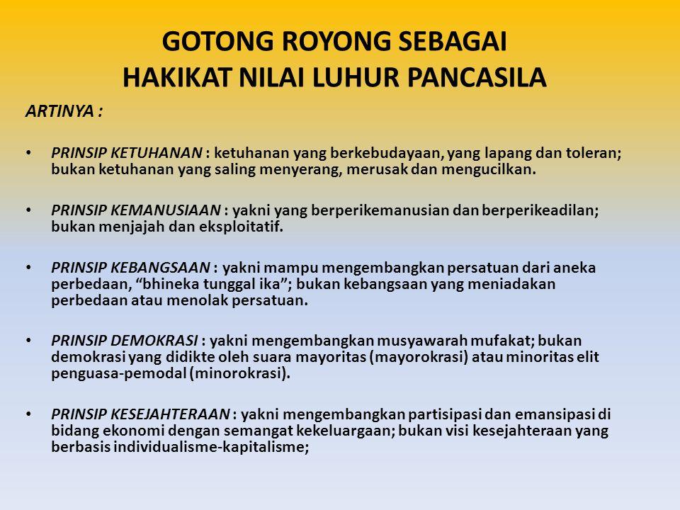 GOTONG ROYONG SEBAGAI HAKIKAT NILAI LUHUR PANCASILA