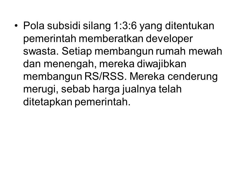Pola subsidi silang 1:3:6 yang ditentukan pemerintah memberatkan developer swasta.