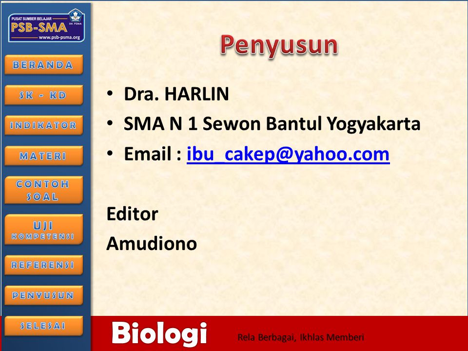 Penyusun Dra. HARLIN SMA N 1 Sewon Bantul Yogyakarta