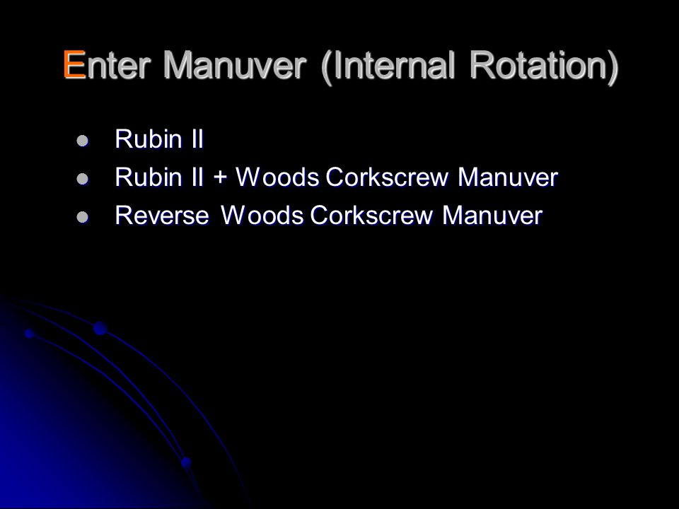 Enter Manuver (Internal Rotation)