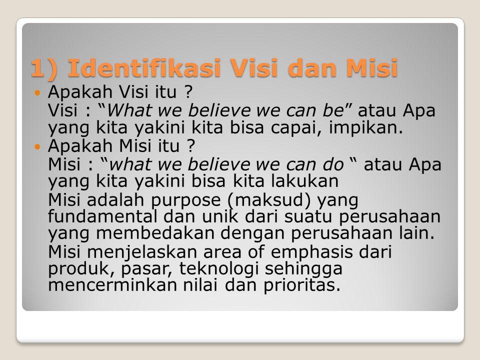 1) Identifikasi Visi dan Misi