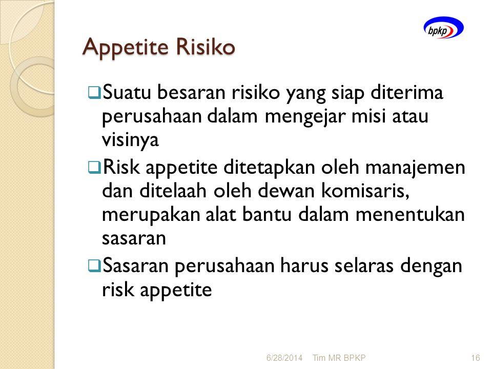Appetite Risiko Suatu besaran risiko yang siap diterima perusahaan dalam mengejar misi atau visinya.