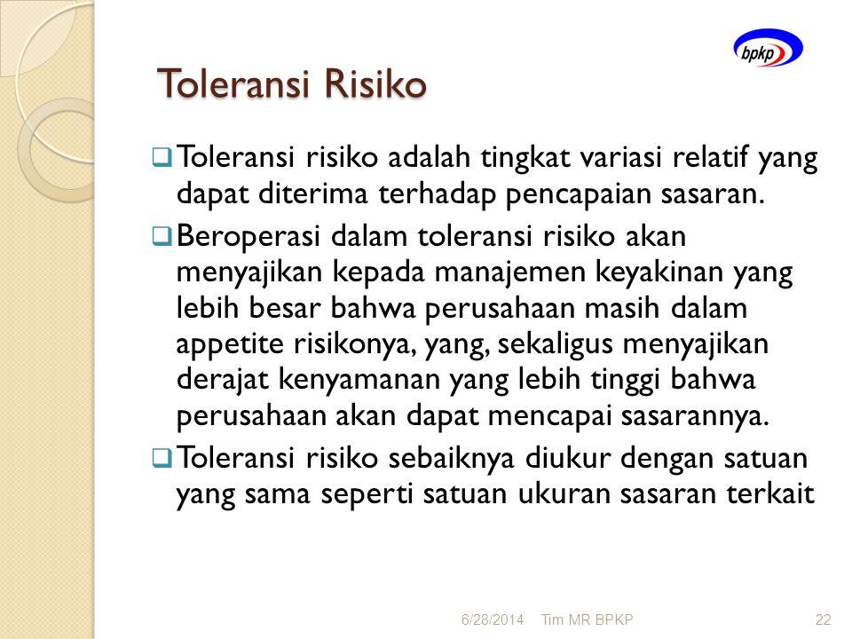 Toleransi Risiko Toleransi risiko adalah tingkat variasi relatif yang dapat diterima terhadap pencapaian sasaran.