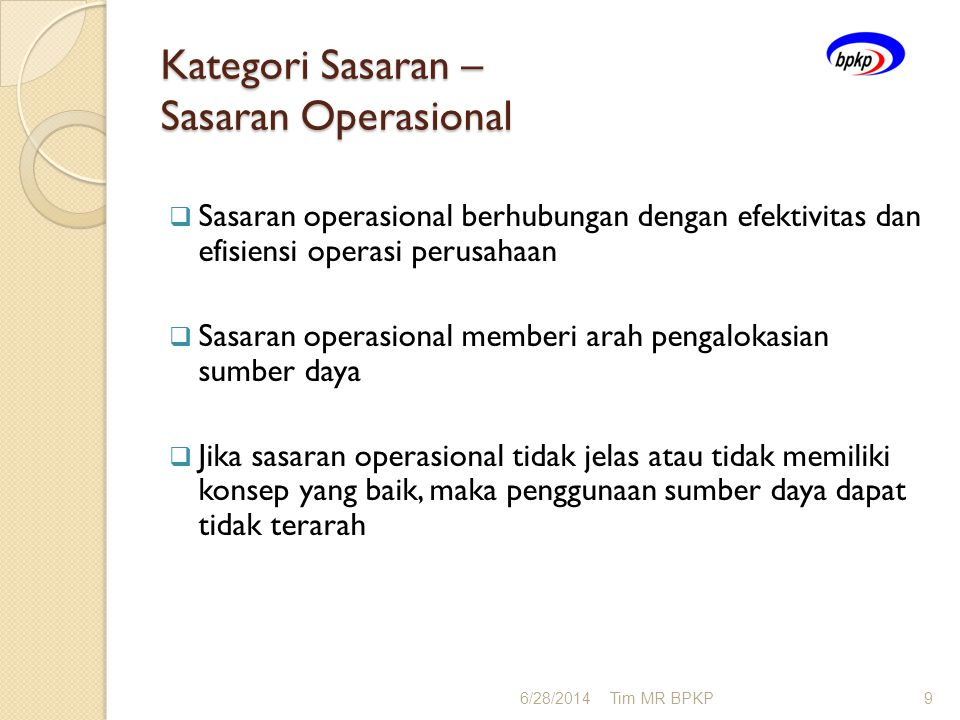 Kategori Sasaran – Sasaran Operasional