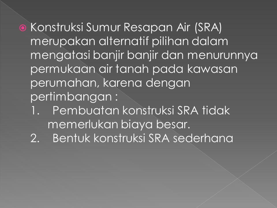 Konstruksi Sumur Resapan Air (SRA) merupakan alternatif pilihan dalam mengatasi banjir banjir dan menurunnya permukaan air tanah pada kawasan perumahan, karena dengan pertimbangan : 1. Pembuatan konstruksi SRA tidak memerlukan biaya besar.