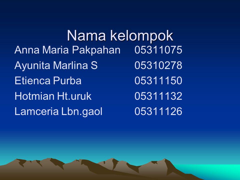 Nama kelompok Anna Maria Pakpahan 05311075 Ayunita Marlina S 05310278