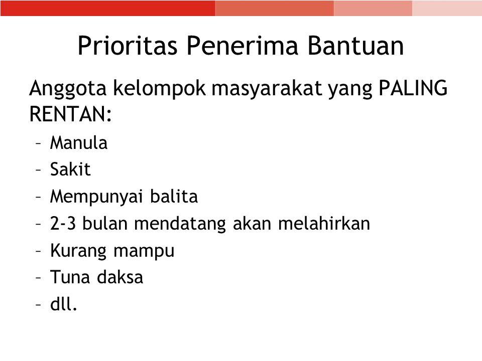 Prioritas Penerima Bantuan