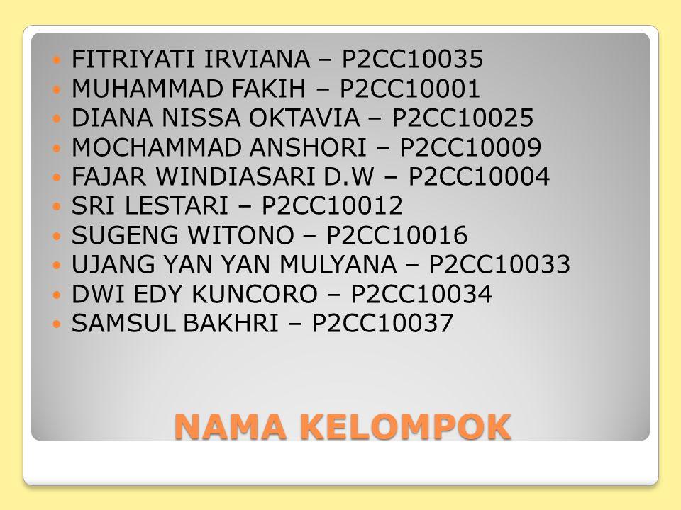 NAMA KELOMPOK FITRIYATI IRVIANA – P2CC10035 MUHAMMAD FAKIH – P2CC10001