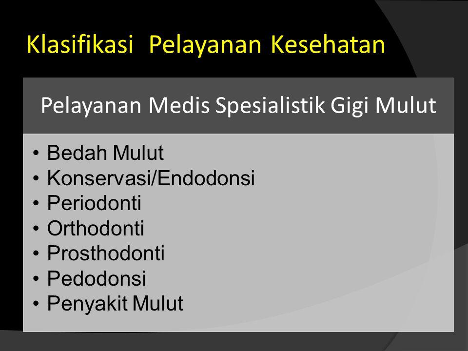 Klasifikasi Pelayanan Kesehatan