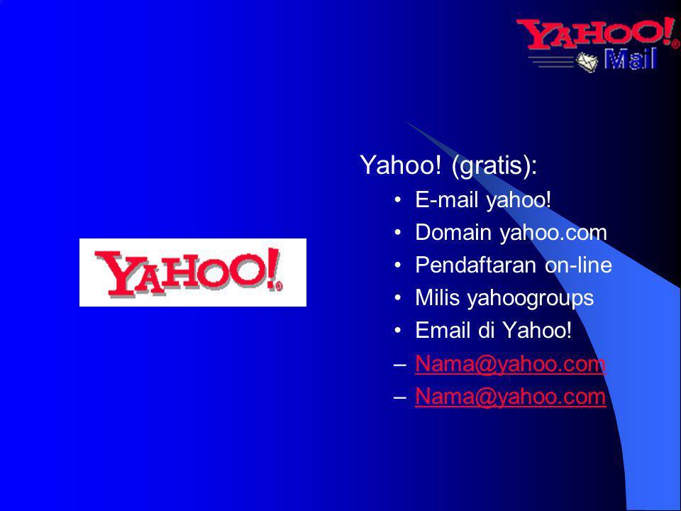 Yahoo! (gratis): E-mail yahoo! Domain yahoo.com Pendaftaran on-line