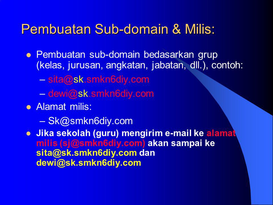 Pembuatan Sub-domain & Milis: