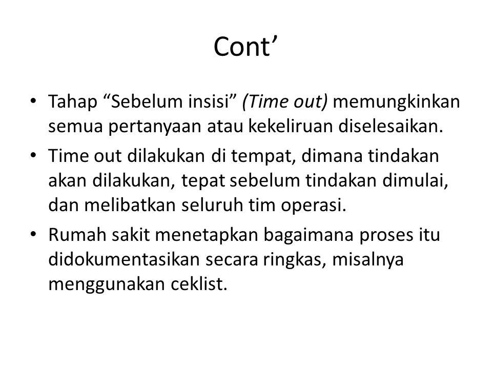 Cont' Tahap Sebelum insisi (Time out) memungkinkan semua pertanyaan atau kekeliruan diselesaikan.