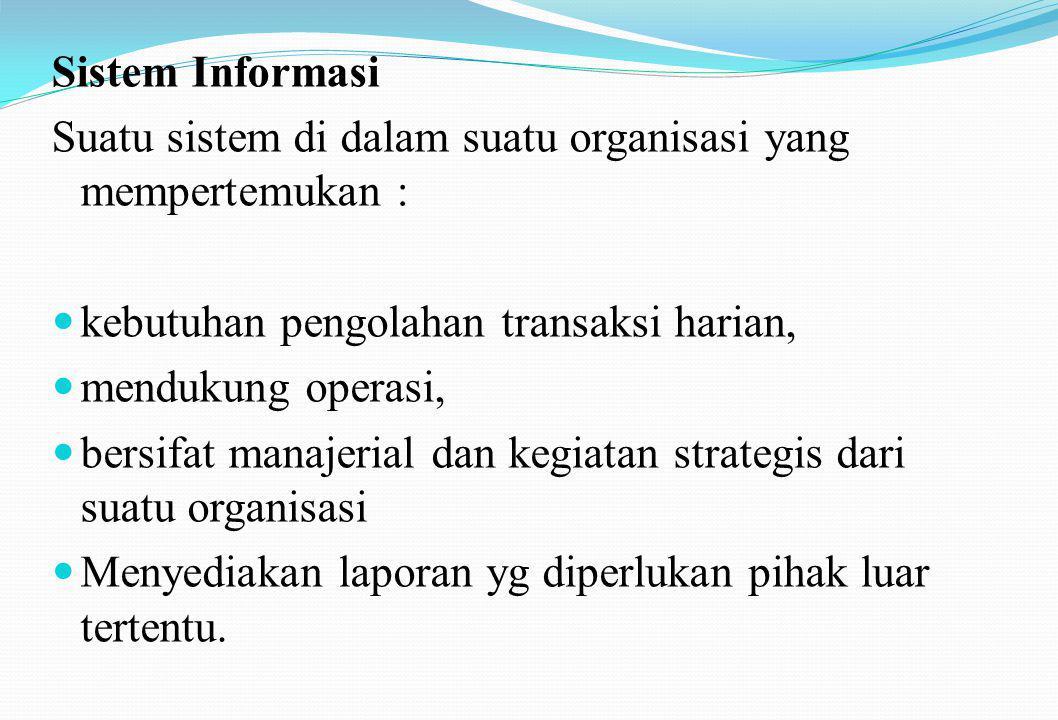 Sistem Informasi Suatu sistem di dalam suatu organisasi yang mempertemukan : kebutuhan pengolahan transaksi harian,