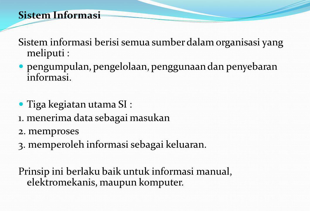 Sistem Informasi Sistem informasi berisi semua sumber dalam organisasi yang meliputi :