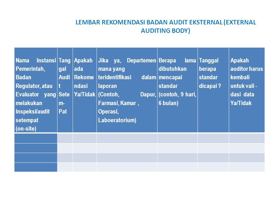 LEMBAR REKOMENDASI BADAN AUDIT EKSTERNAL (EXTERNAL AUDITING BODY)