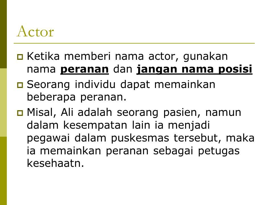 Actor Ketika memberi nama actor, gunakan nama peranan dan jangan nama posisi. Seorang individu dapat memainkan beberapa peranan.