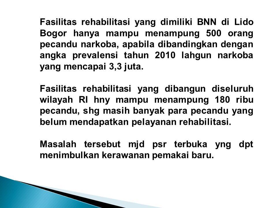 Fasilitas rehabilitasi yang dimiliki BNN di Lido Bogor hanya mampu menampung 500 orang pecandu narkoba, apabila dibandingkan dengan angka prevalensi tahun 2010 lahgun narkoba yang mencapai 3,3 juta.
