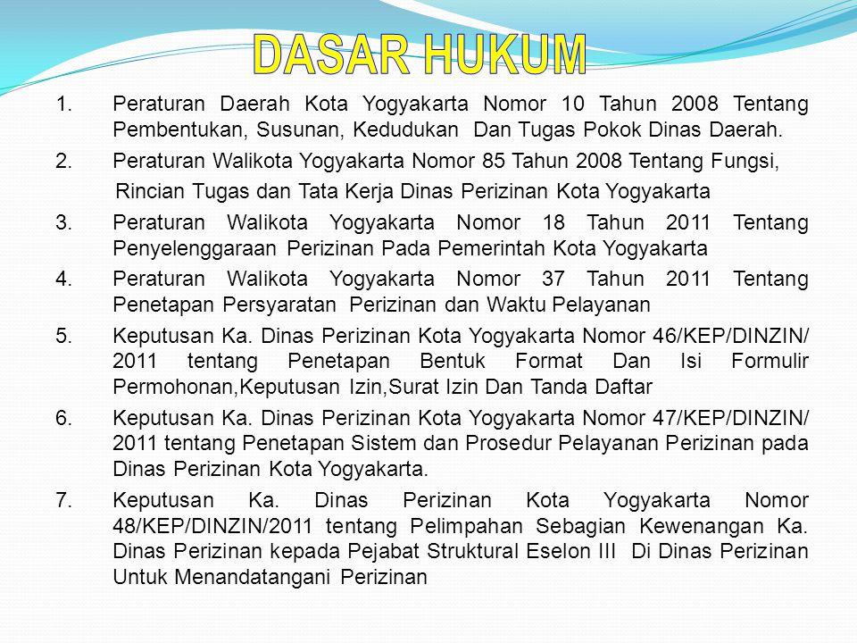 DASAR HUKUM Peraturan Daerah Kota Yogyakarta Nomor 10 Tahun 2008 Tentang Pembentukan, Susunan, Kedudukan Dan Tugas Pokok Dinas Daerah.
